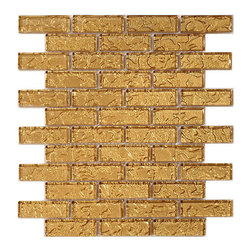 "Euro Glass - Gold Mine  1"" x 3"" Gold Temptation Series Glossy Glass - Sheet size:  1 Sq. Ft.        Tile Size:  1"" x 3""        Tiles per sheet:  42        Tile thickness:  1/4""        Grout Joints:  1/8""        Sheet Mount:  Mesh Backed        Sold by the sheet    -"