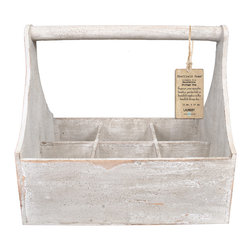 Enchante Accessories Inc - Distressed Wooden Storage 6 Compartment Basket (Distressed White) - Solid Wood Construction Storage BoxBeautifully Aged FinishGreat for planting and displaying seasonal plants.Just like the milk man used 200 years agoOrganize and store yarns and other sewing suppliesGreat for organizing and storing just about anything. Keep sewing supplies together and displayed beautifully. The Vintage look and feel of these wooden bins look like they were made 200 years ago. Group these bins together for a truly decorative statement. These wooden carry boxes are also great for planting flowers and a accent flower box in the backyard or window sill. Use this vintage style wood planter box or crate to organize for storage solutions: planter for herbs, mason jars for flowers, desk organizer, spice rack, bath towel holder, mail sorter. So many uses and would look so adorable on a window sill, counter or shelf.