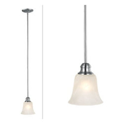 DHI-Corp - Ridgeway Mini Pendant Light, Satin Nickel - The Design House 519439 Ridgeway Mini Pendant Light is made of formed steel, alabaster glass and finished in satin nickel. This ceiling light is rated for 120-volts and uses a 60-watt medium base incandescent bulb. This pendant's tulip shaped shade gently diffuses light with its frosted shade. This ceiling light measures 45.25-inches long and is designed for high ceilings and corridors. This product is UL and CUL listed for safety and quality assurance. The Ridgeway collection features a beautiful matching chandelier, vanity light, wall sconce and ceiling mount. The Design House 519439 Ridgeway Mini Pendant Light comes with a 10-year limited warranty that protects against defects in materials and workmanship. Design House offers products in multiple home decor categories including lighting, ceiling fans, hardware and plumbing products. With years of hands-on experience, Design House understands every aspect of the home decor industry, and devotes itself to providing quality products across the home decor spectrum. Providing value to their customers, Design House uses industry leading merchandising solutions and innovative programs. Design House is committed to providing high quality products for your home improvement projects.