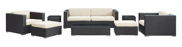 LexMod - Venice Outdoor Wicker Patio 8-Piece Sofa Set in Espresso with White Cushions - Let serenity penetrate your being and distractions fade away with this modern outdoor set. Sit leisurely as an unwavering inner joy rises to the surface and a firm message of relaxation and harmony take hold. Dynamic lines help infuse your special gatherings with perfect measures of energy and calm as your respite turns waves of activity into serenity.