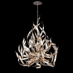 Corbett Lighting - Graffiti Chandelier - Graffiti collection of lamps featuring smoked crystal glass with silver leaf and polished stainless steel finish is a unique design creating spectacular shadows in any area. Available in a 6, 9 and 12 light chandelier option. Includes 50 watt 120 volt JCD G9 halogen lamps. General light distribution. UL listed. Includes one 6 inch, two 12 inch and one 18 inch stems with hang straight canopy. Small: 26 inch width x 35 inch height x 84.5 inch overall height. Medium: 34 inch width x 41 inch heigh x 90.5 inch overall height.  Large: 44 inch width x 48 inch height x 97.5 inch overall height.