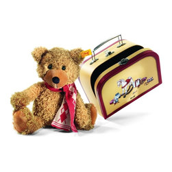 Steiff - Steiff Charly Dangling Teddy Bear in Suitcase - Steiff Charly dangling teddy bear in a suitcase is made of cuddly soft golden brown plush. Ages 3 and up. Machine washable without the suitcase.