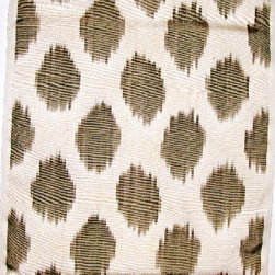 """Upholstery fabric by the yard - 50% silk/ 50% cotton ikat fabric. Handwoven on handlooms. Natural dyes. 15"""" wide. Woven in Uzbekistan. Priced by the linear yard. Order full yards only. Light loden."""