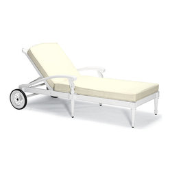 Frontgate - Glen Isle Outdoor Chaise Lounge with Cushions in White Finish, Patio Furniture - Neoclassical-inspired fine-furniture design. Highly detailed frame double-cast in solid 100% ingot aluminum. Hand-filed welds. Rich, multilayered midnight finish with hand-rubbed gold accents and UV protected top coat. Adjustable back. We designed our Glen Isle Midnight Gold Chaise Lounge to be detail rich and admired for years. Inspired by neoclassical interiors, the solid aluminum frame is expertly double-cast in molds that are handcarved by master artisans. The result is an extraordinary level of detail that is rarely, if ever found in outdoor furniture collections. The chaise reclines in 5 relaxing positions and relocates around your estate with wheeled ease. Premium 100% solution-dyed fabrics encase the thick cushion. Part of the Glen Isle Midnight Gold Collection.  .  .  .  .  . Oversized wheels . Cushions with Velcro ties included . 100% solution-dyed and woven fabrics . All-weather cushions have a high-resiliency foam core wrapped in plush polyester . Assembly required (PDF format) . Cushions also available with 100% waterproof Sunbrella Rain performance fabric.