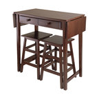 Winsome - Winsome Mercer 3 Piece Rectangle Double Drop Leaf Dining Set in Cappuccino - Winsome - Dinette Sets - 40338 - This is a perfect breakfast or island table for your kitchen or game room.