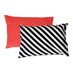 SWENYO - Black & White Stripe and Red Polka Dot Pillow Case Set - Same is lame. Our unique pillowcases will add color and personality to any space. Hand-selected by our team of designers, this contrasting pillowcase set has vibrant colors and an incredibly soft feel finished with our signature red SWENYO tag.