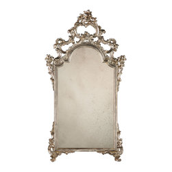 """Inviting Home - Italian Style Decorative Mirror - 18th century Italian style carved wood mirror with floral and scroll design finished in antiqued silver leaf; 26-1/2""""x 48-1/4""""H ; hand-crafted in Italy ; This elegant carved wood mirror is hand crafted in 18th century Italian style. Decorative wall mirror has floral design with graceful leaf scrolls and finished in antique silver leaf. This mirror is hand-crafted in Italy."""