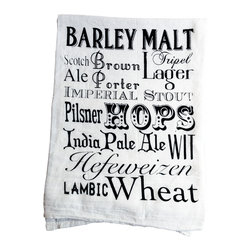 "The Coin Laundry - Beer Typography Cotton Kitchen Towel - ""Beer is proof that God loves us and wants us to be happy"" - Benjamin Franklin"