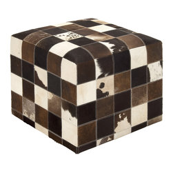 Superior and Soft Wood Leather Ottoman - Description:
