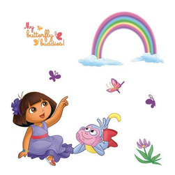 Blue Mountain Wallcoverings - 71pc Dora Explorer Butterfly Rainbow Accent Wall Sticker Set - FEATURES: