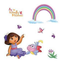 Blue Mountain Wallcoverings - 71-Piece Dora Explorer Butterfly Rainbow Accent Wall Sticker Set - Features: