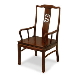 China Furniture and Arts - Rosewood Flower and Birds Motif Arm Chair - Made of solid rosewood, the center panel and the sides form a unity of graceful lines on this open-back armchair. The center panel is curved to maximize comfort and adequately fit the human body. Constructed with traditional joinery technique. Unique horseshoe design of the leg. A delicately carved flower and birds motif takes the center of the back with eye-catching effect. Hand-applied dark tea wood stain enhances the beauty of rosewood.