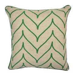 "Villa Home - Pair of Villa Home Nature's Bliss Array Green Pillows - Rows of embroidery form scallop shapes on the Nature's Bliss Array Green Pillows by Villa Home. On 100% linen, these sophisticated pillows mesh modern lines with earthy feel. (VH) Sold as a pair. Feather down inserts included. 22"" wide x 22"" high"