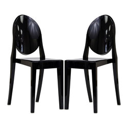 Modway - Modway EEI-906 Casper Dining Chairs Set of 2 in Black - Combine artistic endeavors into a unified vision of harmony and grace with the ethereal Casper Chair. Allow bursts of creative energy to reach every aspect of your contemporary living space as this masterpiece reinvents your surroundings. Surprisingly sturdy and durable, the Casper Chair is appropriate for any room or outdoor setting. Pure perception awaits, as shining moments of brilliance turn visual vacuums into new realms of transcendence.