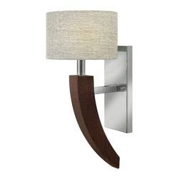 Frederick Ramond - Fredrick Ramond Cameron 1-Light Sconce - Camerons transitional design features strong  modern arms of a rich  dark solid wood veneer. The stem hung collection has a bold tapered four sided center column detailed by crisp chrome accents. Elegant textured fabric shades in silver tones add feminine sophistication.