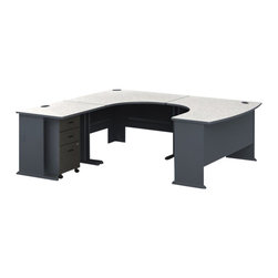 BBF - Bush Series A U-Shape Left-Hand Corner Computer Desk in Slate - Bush - Computer Desks - WC8427APKG1