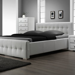 DG Casa - Riviera Platform Bed - Features: -Platform bed - no box spring required.-Tufted headboard and footboard.-Includes slat support system.-Fully upholstered in durable and easy to maintain synthetic leather.-Color: White.-Riviera collection.-Distressed: No.-Collection: Riviera.Dimensions: -Overall Product Weight: 173 lbs.Warranty: -1 Year warranty.