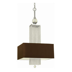Candice Olson - Casby Hollywood Regency Modern Beaded Rectangular Chandelier - Playing on the contrasts of cascading glass beads and a silk, hardback shade in dark brown, this transitional piece makes a strong statement perfect for a modern space where old world eye candy still makes welcome appearances.  Over a dining table or welcoming visitors at the entrance, a stylish effect is virtually guaranteed.