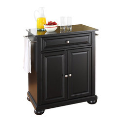 Crosley Furniture - Crosley Furniture Alexandria Solid Black Granite Top Kitchen Island - Crosley Furniture - Kitchen Carts - KF30024ABK - Constructed of solid hardwood and wood veneers this kitchen island is designed for longevity. The beautiful raised panel doors and drawer front provide the ultimate in style to dress up your kitchen. The deep drawer are great for anything from utensils to storage containers. Behind the two doors you will find an adjustable shelf and an abundance of storage space for things that you prefer to be out of sight. Style function and quality make this kitchen island a wise addition to your home.
