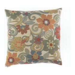 "Canaan - 24"" x 24"" Marsha 70'S Floral Print Pattern Throw Pillow - 24"" x 24"" Marsha 70's floral print pattern throw pillow with a feather/down insert and zippered removable cover. These pillows feature a zippered removable 24"" x 24"" cover with a feather/down insert. Measures 24"" x 24"". These are custom made in the U.S.A and take 4-6 weeks lead time for production."