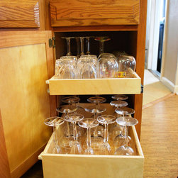 Slide Out Shelves - Store your barware safely and free of dust on ShelfGenie custom slide out shelves.  For additional security, add a little height to the shelf and choose double-height or even triple-height slide out shelves.