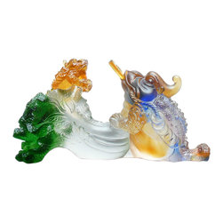 """Golden Lotus - Chinese Liuli Crystal Glass Pate-de-verre Two Toads Fortune Figure - Dimensions:   9.5""""x  4""""x  h3.5"""""""
