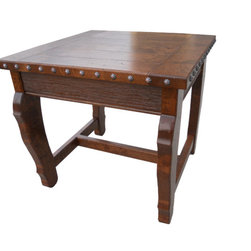 Hacienda Square End Table - The Hacienda Square End Table is handcrafted out of solid alder wood and distressed to give it a more rustic look.  Tables are available in 8 different stain colors and have decorative nail heads around the table top.  Size can be customized if needed and you can choose to have different nail heads or no nail heads at all.  Other customization options include adding a shelf on bottom or drawers.  Table shown has English Chestnut stain.