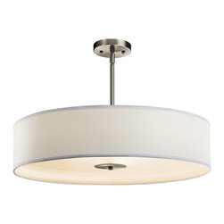 BUILDER - BUILDER Crystal Persuasion 150W Transitional Inverted Pendant / Semi-Flush Mount - This Kichler Lighting pendant light is clean and stylish thanks to the drum shade shape and clean lined center column. From the Crystal Persuasion Collection, it features a Brushed Nickel finish with a white fabric shade and satin etched glass diffuser.