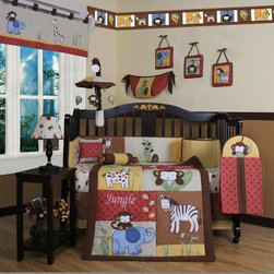 """Geenny - Boutique Amazon Jungle Animal 13 Piece Crib Bedding Set - This listing is for a 13 piece beautiful Geenny brand new crib set with all the bundle you will need. This set is made to fit all standard cribs and toddler beds. The whole set comes with 10 pieces plus 3 new wall art decor hangings, which comes out as a total 13 piece bundle. The set is made by Geenny Designs, well known as Nursery Series Products Designs. All bundled pieces are in a brand new zippered, handled carrying bag. Dress up and decorate your baby's room with this beautiful 13 piece crib bedding set. Features: -Set includes: Crib quilt, two valances, skirt, crib sheet, bumper, diaper stacker, toy bag, two pillows, three wall hangings. -Material: 65 / 35 Percent of Polyester / Cotton. -Crib quilt: 45"""" H x 36"""" W. -Crib bumper: 10"""" W x 158"""" D. -Fitted crib sheet: 52"""" H x 28"""" W. -Window valances: 16"""" H x 58"""" W. -Crib skirt: 28"""" H x 52"""" W. -Toy bag: 20"""" H x 14"""" W. -Decorative accent pillows: 10"""" H x 10"""" W. -Machine washable."""