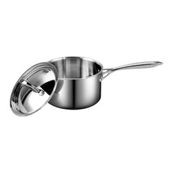 Cooks Standard - Cooks Standard Multi-Ply Clad Stainless-Steel 1-1/2-Quart Covered Sauce Pan - Cooks standard mulitclad stainless cookware features air-flow technology makes handle stay cooler than normal handle type. Constructed of clad metal of 3 layer: Interior lining is premium grade 18-10 stainless steel, core made of multi-element alloy aluminum for superior heat distribution, the core of aluminum goes from bottom all the way to side wall, stainless steel does not transmit heat quickly but aluminum does. Aluminum is soft and dents easily, stainless steel is hard and strong. This means you get the toughness of stainless steel with the even heat distribution of aluminum. Exterior is scratch resistant brushed treatment, bottom is also compatible to conduction stovetop, this cookware is dishwasher safe.