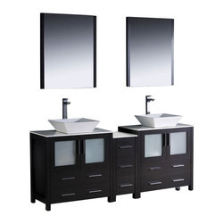 Fresca - Torino Double Sink Bathroom Vanity w Drawers (Tolerus Chrome) - Choose Included Faucet: Tolerus ChromeP-traps, Faucets, Pop-Up Drains and Installation Hardware Included. Single Hole Vessel Faucet Mounts (Faucets Shown In Picture May No Longer Be Available So Please Check Compatible Faucet List). No overflow. Sink Color: White. Finish: Espresso. Sink Dimensions: 16 in. x16 in. x5 in. . Mirror: 25.5 in. W x 31.5 in. H x 1.25 in. D. Materials: Plywood w/ Veneer, Ceramic Sinks. Vanity: 72 in. W x 18.13 in. D x 35.63 in. HFresca is pleased to usher in a new age of customization with the introduction of its Torino line. The frosted glass panels of the doors balance out the sleek and modern lines of Torino, making it fit perfectly in either Town or Country decor. Available in the rich finishes of Espresso, Glossy White and Light Oak, all of the vanities in the Torino line come with either a ceramic vessel bowl or the option of a sleek modern ceramic undermount sink.