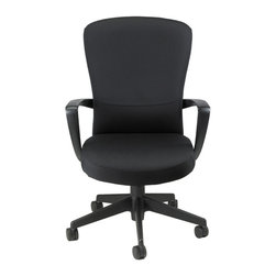Tribeca Executive Fabric Mid Back Chair - Tribeca Executive Fabric Mid Back Chair, FE900, is a fashionable office and task chair. It has a fabric finish with sturdy substructure. The foam cushions, calm armrests, swivel, tilt features and seat height adjustment gives you more comfort and more control over the chair when working for extended time. The seat has a waterfall edge which eases pressure points on the underside of your legs. These great features will surely keep you comfortable all day.