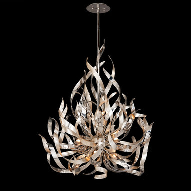 Graffiti 9 Light Chandelier by Corbett Lighting - Graffiti collection of lamps featuring smoked crystal glass with silver leaf and polished stainless steel finish is a unique design creating spectacular shadows in any area. Available in a 6, 9 and 12 light chandelier option as well as a wall sconce and ceiling flush mount version. Nine 50 watt, 120 volt, JCD G9 base halogen lamps included. General light distribution. UL listed. Includes (1) 6, (2) 12 and (1) 18 inch stems with hang straight canopy. Overall height is 90.5 inches. 34W x 41H.