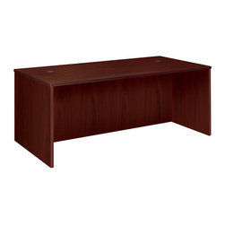 Rulers.com - basyx by HON BW Series Veneer Rectangular Desk Shell - Instead of big, heavy elements, the BW Veneer Series is made of compact, easy-to-handle components that you can quickly tailor to your needs. Combine a non-handed return shell and two modular pedestals to create an L-arrangement, or combine a non-handed credenza shell, a bridge and two modular pedestals to create an U-arrangement.