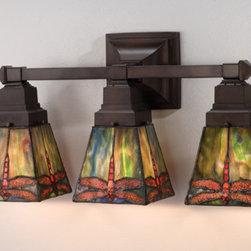 Meyda - 20 Inch Width Prairie Dragonfly 3-Light Vanity Wall Sconces - Color theme:  Flame Orange