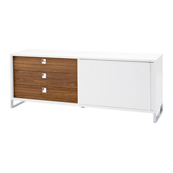 DomItalia Furniture - Life-1C Sideboard in White / Walnut - Conveniently store dishware and dining accessories with this versatile Life-1C Sideboard by Domitalia. The sideboard features contemporary design, white high glossy MDF lacquered frame, one (1) sliding door, three (3) walnut Canaletto veneered drawers. Three storage drawers and door for contemporary, innovative storage space.