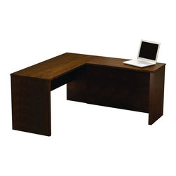 "Bestar - Bestar Prestige + L-Shape Computer Desk in Chocolate - Bestar - Computer Desks - 9942069 - Prestige + Collection features a steadfast value and guaranteed a traditional longevity design. Ideal for every type of office including home office. Design with durable 1"" commercial grade work surfaces with melamine finish that resist scratches stains and burns and shock resistant PVC 0.1"" edge. The Prestige L-shaped workstation features efficient wire management with grommets classic ribbed side moldings and a large work surface. This item meets or exceeds AINSI/BIFMA performance standards. Also available in Bordeaux and Graphite or Cognac Cherry finishes."