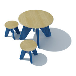 Sodura - Sodura Aero Kids Table and Two Stool Set, Blue - A fun little table and stool set with round tops make a great spot for your little ones to do activities or have a snack.  Solid wood construction makes for a long lasting piece of furniture. Low-VOC water based finishes are safe and non-toxic. No-formaldehyde glues keep fumes out. Easy to assemble.