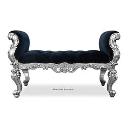 Fabulous & Baroque - Fabulous and Baroque's Absolom Roche Bench - Feast your eyes upon the decadence and true luxury of Fabulous & Baroque's ultimate collection of furniture! Exclusive to Fabulous & Baroque, this striking Absolom Roche bench defines opulence! Created to make a statement, this regal bench invites you to hold court in its divine hand carved curves. Finished silver leaf and upholstered in luxurious crushed black velvet, this bench is a stylish compliment to any bedroom, entry or any place you see fit!