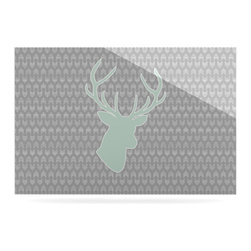 """Kess InHouse - Pellerina Design """"Winter Deer"""" Gray Green Metal Luxe Panel (24"""" x 36"""") - Our luxe KESS InHouse art panels are the perfect addition to your super fab living room, dining room, bedroom or bathroom. Heck, we have customers that have them in their sunrooms. These items are the art equivalent to flat screens. They offer a bright splash of color in a sleek and elegant way. They are available in square and rectangle sizes. Comes with a shadow mount for an even sleeker finish. By infusing the dyes of the artwork directly onto specially coated metal panels, the artwork is extremely durable and will showcase the exceptional detail. Use them together to make large art installations or showcase them individually. Our KESS InHouse Art Panels will jump off your walls. We can't wait to see what our interior design savvy clients will come up with next."""