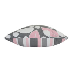 The Pillow Studio - Contemporary Pink and Grey Lumbar Pillow Cover with Leaves and Stripes - I love how these contemporary pink and grey fabrics coordinate. This pillow is whimsical enough for a little girls room yet the contemporary colors and pattern make it sophisticated enough for a living room too.