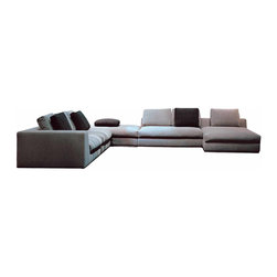 Zuri Furniture - Beige Comodo Sectional Sofa - Left Chaise - Large and luxurious, the Comodo sectional sofa is perfect for entertaining multiple guests. The modern low-profile upholstered sectional is offers generous and comfortable seating with goose down filling, and is paired with coordinating chaise and ottoman.