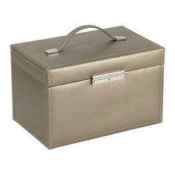 WOLF - Queen's Court Large Jewelry Case, Bronze - This elegant case provides three large storage drawers, 12 snap-lock hanging necklace storage hidden behind a large vanity mirror and a removable travel case. Additionally the case and removable traveler both feature Wolfs exclusive LusterLoc anti-tarnish treated interiors.