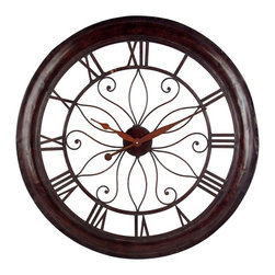 "IMAX - Oversized Wall Clock - Create the perfect look in your den, living room or bedroom with this oversized wall clock. The open back allows it to blend with any wall color while adding a simple elegance. The metal structure ofeethis clock features a beautiful rust finish that works with a wide range of decors. Item Dimensions: (30.25""d)"