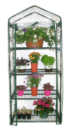 Alpine Corporation - Alpine 4-Tier Portable Greenhouse Planter - Perfect for your home or garden, this compact 4-tier portable greenhouse is ideal for extending the growing season. Featuring a powder-coated steel frame construction with UV-treated plastic cover to accommodate any climate.