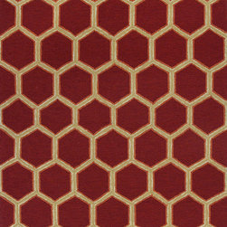 """Meridian 2524 Red  Honeycomb Rug - Meridian 2524 Red Honeycomb 3'3"""" x 5'3"""". Hand-Hooked of 100% UV-Treated Polypropelene Hi/Lo for Indoor/Outdoor Living with No Backing. Made in China. Vacuum regularly & spot clean stains. Professional cleaning recommended periodically."""