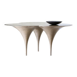 Morotai Multifunctional Table by Carlo Pessina - This three-legged game table has plenty of room for card or board games.
