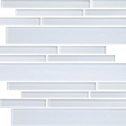 "Rocky Point Tile - 4"" x 6"" Sample - Snow White Random Strip Glass Mosaic Tiles - Beautiful and as pure as fresh snow, these classic white glass tiles add a clean, bright backdrop to your existing color palette. Make a stunning, crisp solid backsplash or bathroom tile surround, or combine them with bright red tiles to form a candy-cane mosaic."