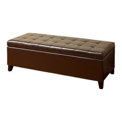 Great Deal Furniture - Santa Rosa Brown Tufted Leather Storage Ottoman Bench - This functional piece of furniture will add style to any room while becoming additional storage space which is always needed.