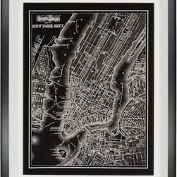 Paragon Decor - New York City, 1895 Artwork - Black and white map is raised mounted and matted in white in glossy black shadow box style frame.